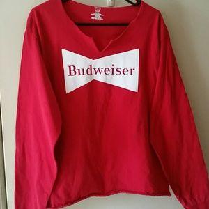 Tops - Red Long Sleeve Budwiser Tshirt Modified
